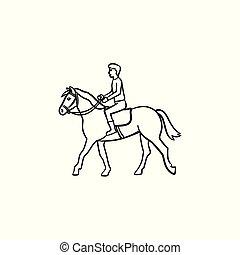 Dicker Horse Vector Sg171006 Cartoon Gezeichnet Reiten Mann