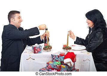 mann, rgeöffnete, champagner, feiern, weihnachten, nacht