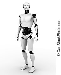 mann, roboter, standing.