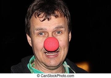 mann, rote nase, humor, lachen - mann mit roter nase