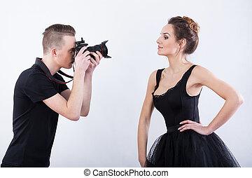 mann, schießen, a, foto, von, elegant, tänzer