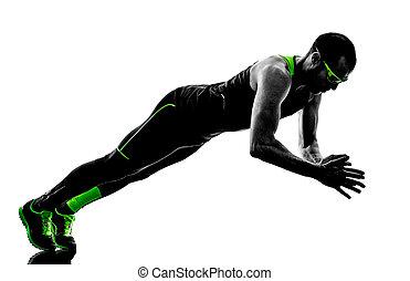 mann, schieben, ups, übungen, fitness, silhouette