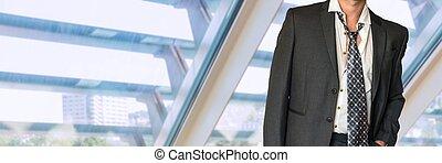 mann, schwarz, geschäftsbekleidung