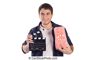 mann, schwengel, popcorn, board.