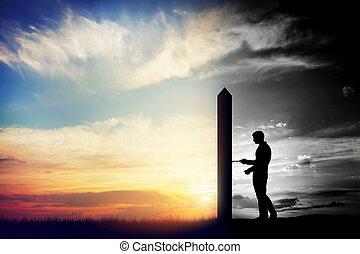 mann, schwierig, öffnen, tür, zu, neu , besser, world.,...