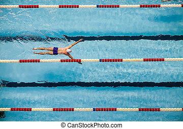 mann, schwimmen schwimmbad