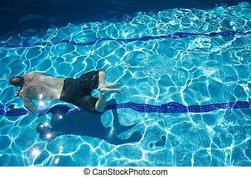 mann, schwimmender
