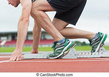 mann, seitenansicht, rennen, trac, rennender , bereit
