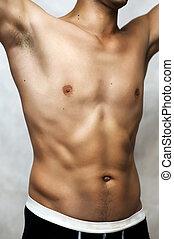 mann, sexy unterwäsche, modell