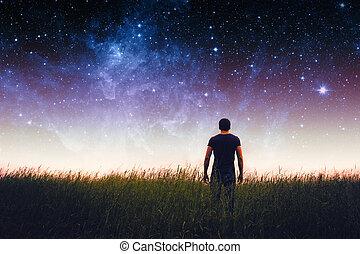 mann, silhouette, ., elemente, von, dieser, bild, möbliert,...