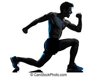 mann, silhouette, junger, freigestellt, übung, schatten, weißes, trainieren, fitness, hintergrund