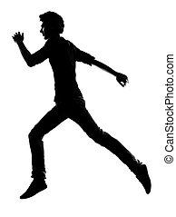 mann, silhouette, junger, rennender
