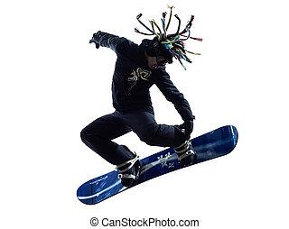 mann, silhouette, junger, snowboarder