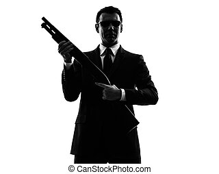 mann, silhouette, mörder