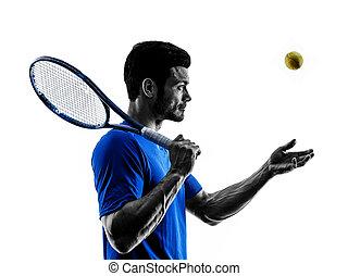 mann, silhouette, spielen tennis, spieler