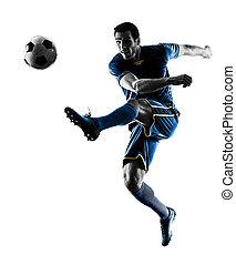 mann, silhouette, treten, freigestellt, spieler, fußball