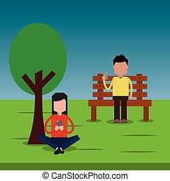 mann sitzen, in, bank, und, frau, park, plaudern, mit, smartphone