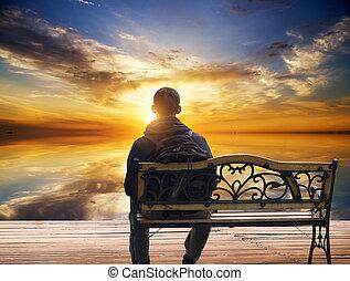 mann, sitzt, abnahme, einsam