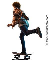 mann, skateboarder, freigestellt, hintergrund, junger, schatten, weißes, silhouette, skateboardfahren