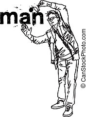 mann, skizze, vektor, abbildung, painting.