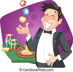 mann, spielen, roulett, in, kasino