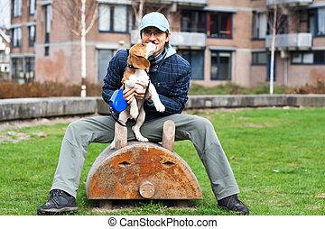mann, spielende , mit, hund