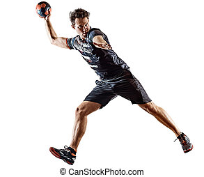mann, spieler, hintergrund, schatten, freigestellt, gericht, weißes, handball, junger, silhouette