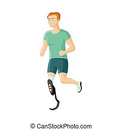 mann, sportler, mit, prothese, beinprothese