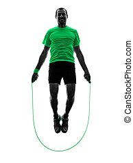 mann springen, seil, übungen, fitness, silhouette