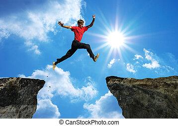mann, springen