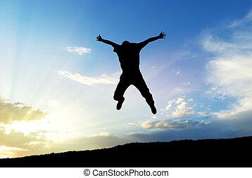mann, springen, zu, himmelsgewölbe