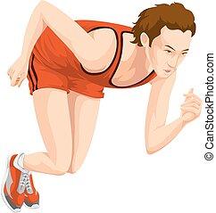 mann, sprinten, farbe, abbildung