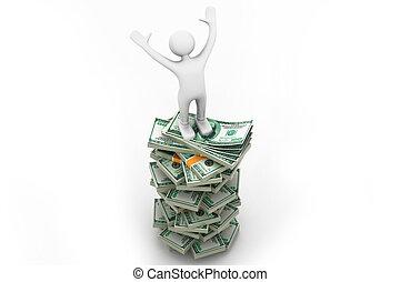 mann stehen, auf, a, stapel geld