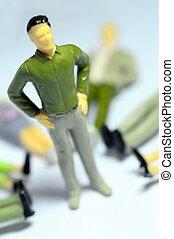 mann stehen, aus, liegen, figuren