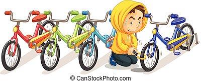 mann, stehlen, fahrrad, von, der, parkplatz