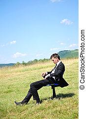 mann, stuhl, geschaeftswelt