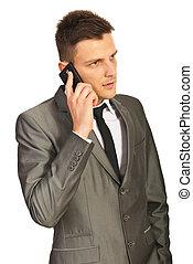mann, telefon, ernstes geschäft, berufung