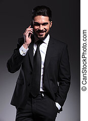 mann, telefon, glücklich, geschaeftswelt, sprechende