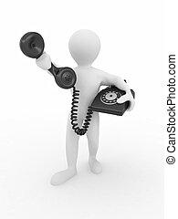 mann, telefon, halten empfängers