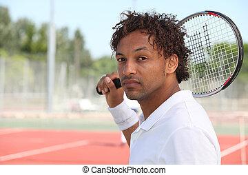 mann, tennisspieler, besitz, racquet, schulter, während,...