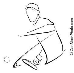 mann, tennisspieler, symbol