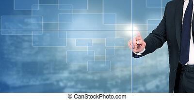 mann, textanzeige, virtuell, geschaeftswelt, digital