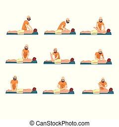 mann, therapeut, machen, rückenmassage, zu, junger mann,...