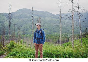 mann, tourist, in, berg, spur