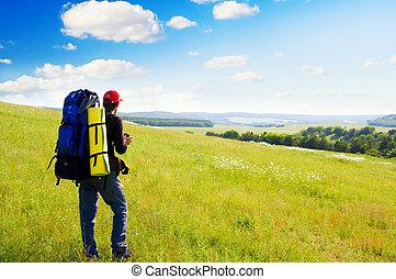 mann, tourist, in, mountain.
