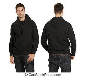 mann, tragen, leer, schwarz, hoodie