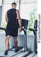 mann- trainieren, auf, tretmühle