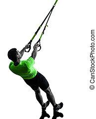 mann- trainieren, aufhängung, training, trx, silhouette