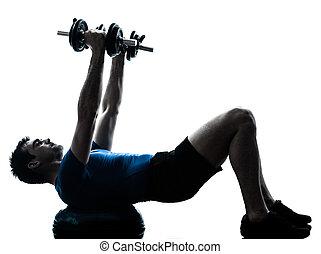 mann- trainieren, bosu, gewichtstraining, workout, fitness, haltung