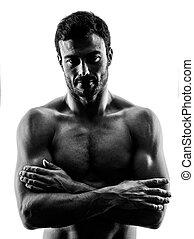 mann- trainieren, fitness, übungen, silhouette